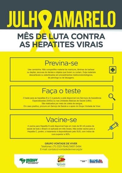 Julho Amarelo - Mês de luta contra as Hepatites Virais
