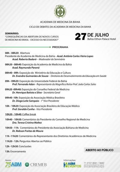 ABM e Academia de Medicina da Bahia realizam seminário no próximo dia 27