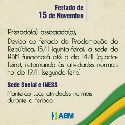 Comunicado de recesso da ABM durante o feriado de 15 de Novembro