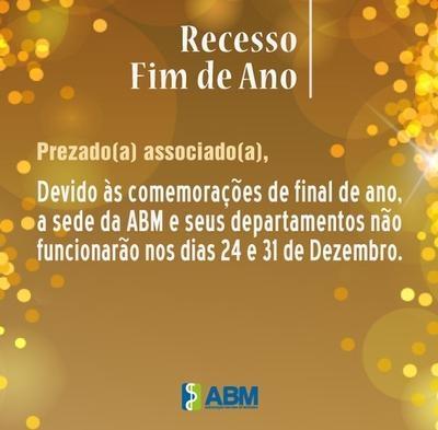 Cronograma de funcionamento da ABM no fim de ano.