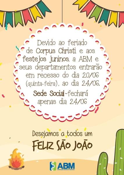 Recesso de São João da ABM